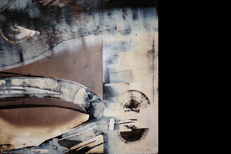 'Floating Forms', Oil on Metal, 84 x 84 cm, Private Collection